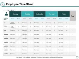Employee Time Sheet Ppt Powerpoint Presentation Visual Aids