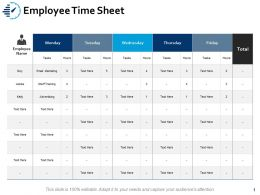Employee Time Sheet Tasks Ppt Powerpoint Presentation Ideas Graphics Example