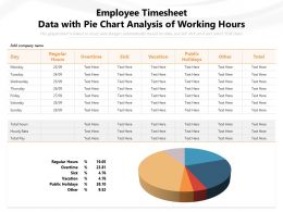 Employee Timesheet Data With Pie Chart Analysis Of Working Hours