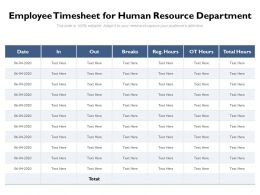 Employee Timesheet For Human Resource Department