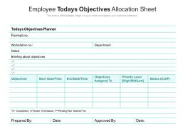 Employee Todays Objectives Allocation Sheet