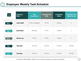 Employee Weekly Task Schedule Ppt Powerpoint Presentation Gallery Summary