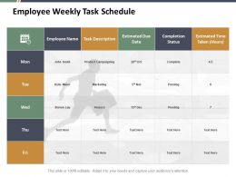 Employee Weekly Task Schedule Ppt Styles Example Introduction