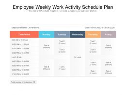 Employee Weekly Work Activity Schedule Plan