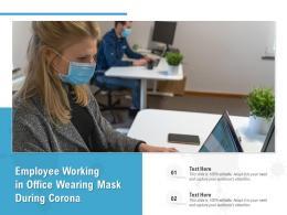 Employee Working In Office Wearing Mask During Corona