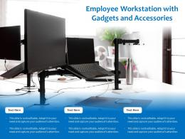 Employee Workstation With Gadgets And Accessories