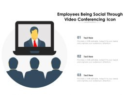 Employees Being Social Through Video Conferencing Icon