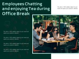 Employees Chatting And Enjoying Tea During Office Break