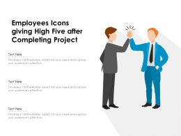 Employees Icons Giving High Five After Completing Project