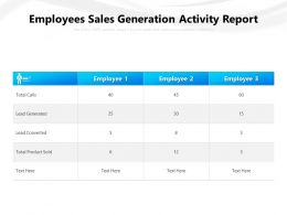 Employees Sales Generation Activity Report