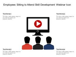 Employees Sitting To Attend Skill Development Webinar Icon