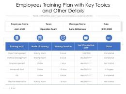 Employees Training Plan With Key Topics And Other Details