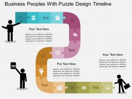 En Business Peoples With Puzzle Design Timeline Flat Powerpoint Design