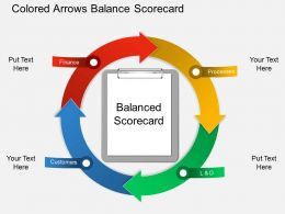 en Colored Arrows Balance Scorecard Powerpoint Template