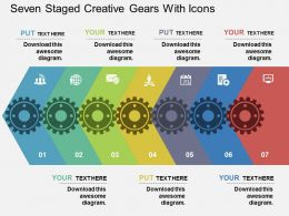 En Seven Staged Creative Gears With Iocns Flat Powerpoint Design