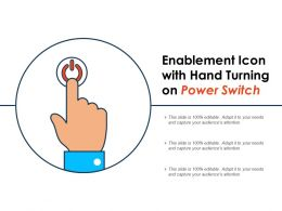 Enablement Icon With Hand Turning On Power Switch