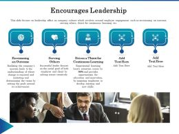 Encourages Leadership Ppt Powerpoint Presentation Model Icon