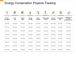 Energy Conservation Projects Tracking Completion Date Ppt Powerpoint Presentation Show