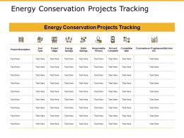 Energy Conservation Projects Tracking Icons Ppt Powerpoint Presentation Layouts Inspiration