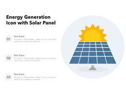Energy Generation Icon With Solar Panel