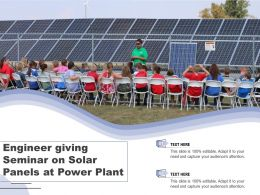 Engineer Giving Seminar On Solar Panels At Power Plant