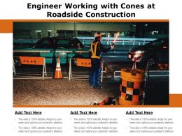 Engineer Working With Cones At Roadside Construction