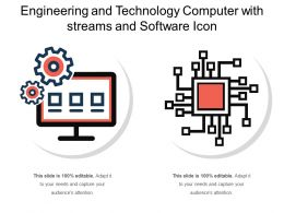 Engineering And Technology Computer With Streams And Software Icon