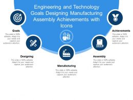 Engineering And Technology Goals Designing Manufacturing Assembly Achievements With Icons