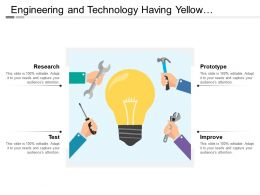 Engineering And Technology Having Yellow Colored Bulb Four Hand Holding Tools