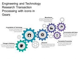 Engineering And Technology Research Transaction Processing With Icons In Gears