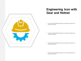 Engineering Icon With Gear And Helmet