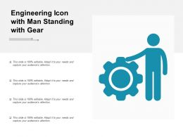 Engineering Icon With Man Standing With Gear
