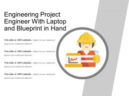 Engineering Project Engineer With Laptop And Blueprint In Hand