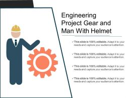 Engineering Project Gear And Man With Helmet