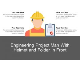 Engineering Project Man With Helmet And Folder In Front