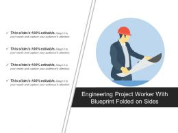 Engineering Project Worker With Blueprint Folded On Sides