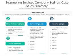 Engineering Services Company Business Case Study Summary