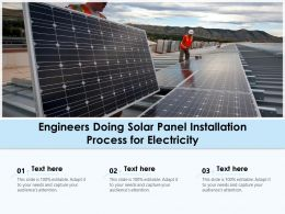 Engineers Doing Solar Panel Installation Process For Electricity