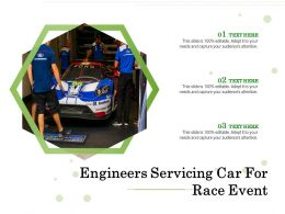 Engineers Servicing Car For Race Event