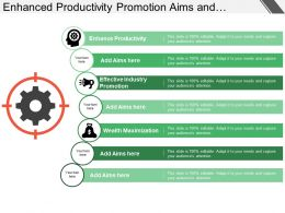 enhanced_productivity_promotion_aims_and_objectives_with_icons_and_circles_Slide01