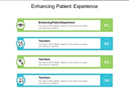 Enhancing Patient Experience Ppt Powerpoint Presentation Inspiration Diagrams Cpb