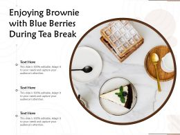 Enjoying Brownie With Blue Berries During Tea Break