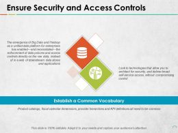 Ensure Security And Access Controls Establish A Common Vocabulary