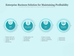 Enterprise Business Solution For Maintaining Profitability