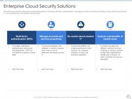 Enterprise Cloud Security Solutions Cloud Security IT Ppt Formats