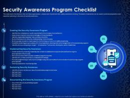Enterprise Cyber Security Awareness Program Checklist Ppt Ideas