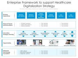 Enterprise Framework To Support Healthcare Digitalization Strategy