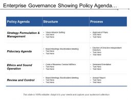 Enterprise Governance Showing Policy Agenda Structure Process