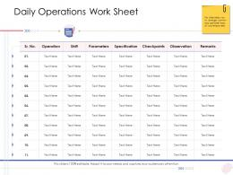Enterprise Management Daily Operations Work Sheet Ppt Structure