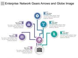 Enterprise Network Gears Arrows And Globe Image